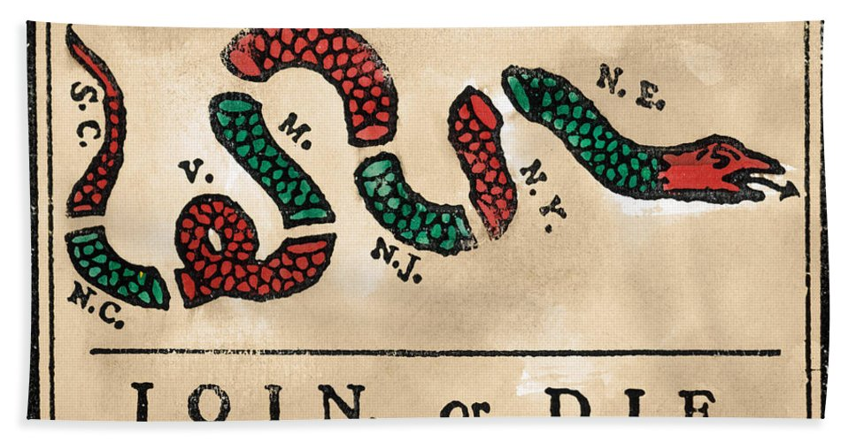 1754 Hand Towel featuring the painting Join Or Die Cartoon 1754 by Benjamin Franklin