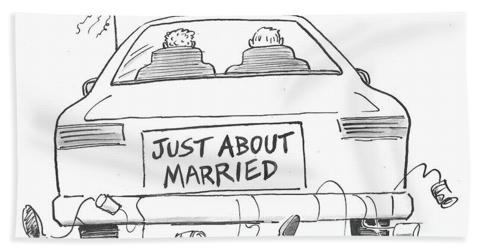 Just About Married Bath Sheet featuring the drawing Just About Married by Mike Twohy