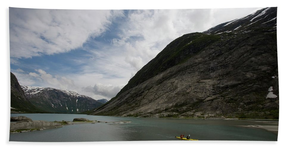 Adult Bath Sheet featuring the photograph Kayaking To The Nigardsbreen Glacier by Jose Azel
