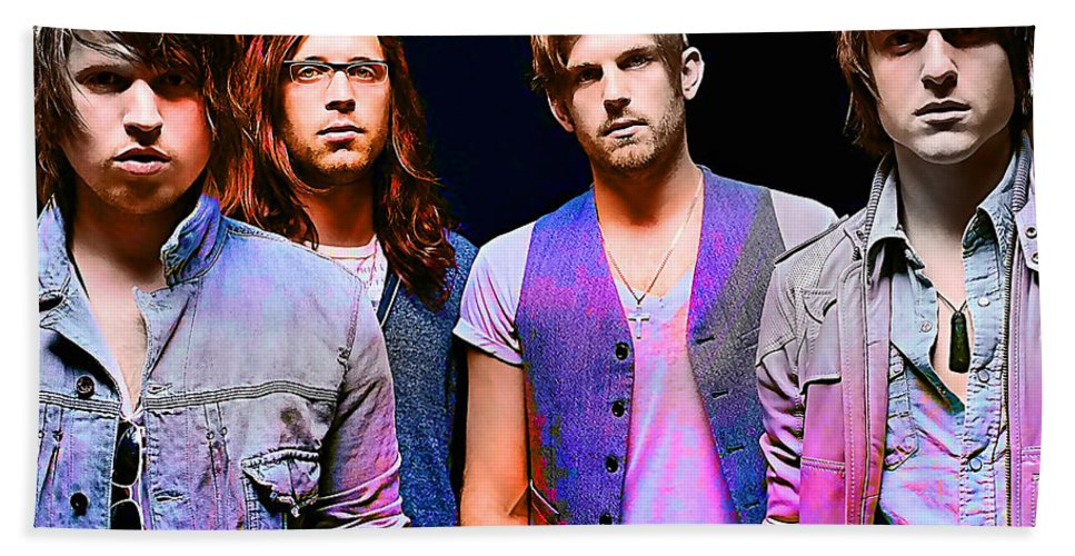 Kings Of Leon Photographs Mixed Media Hand Towel featuring the mixed media Kings Of Leon by Marvin Blaine