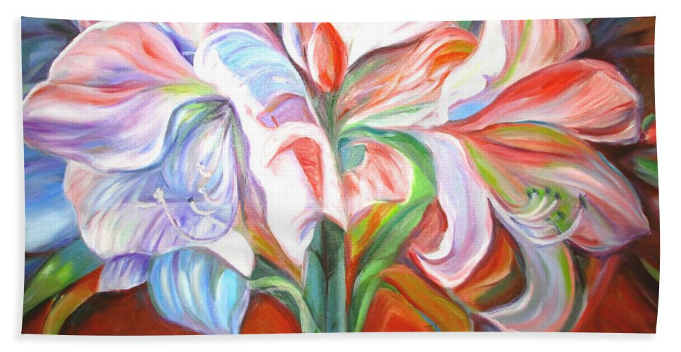 Flowers Hand Towel featuring the painting Kiss Of The Valley by Janet Lilethia Harvey
