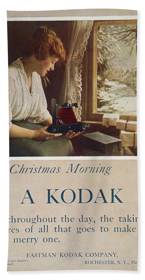 1914 Hand Towel featuring the painting Kodak Advertisement, 1914 by Granger
