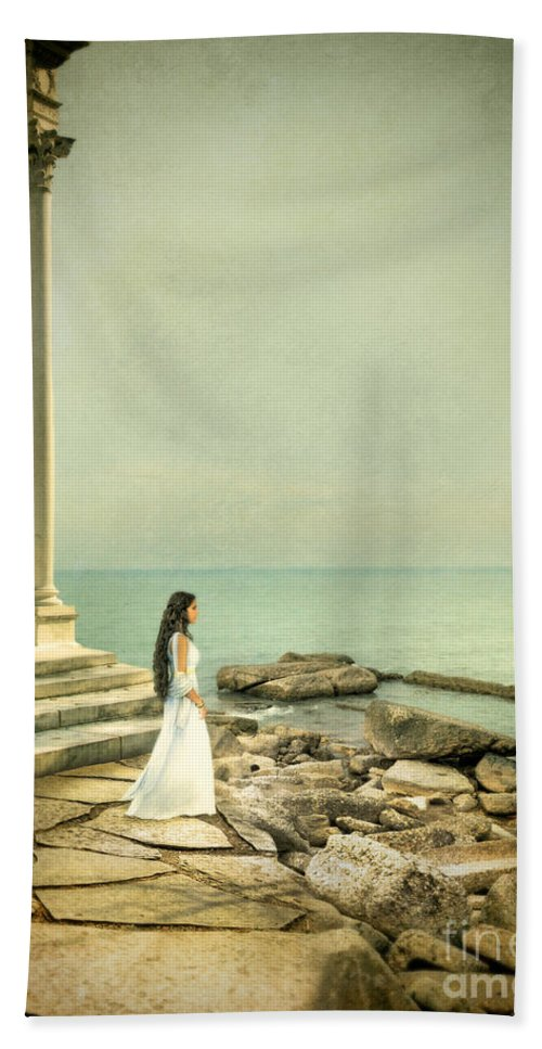 Woman Hand Towel featuring the photograph Lady In White By The Sea by Jill Battaglia