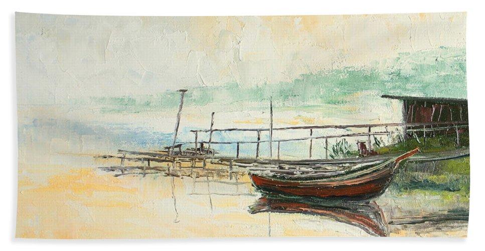 Lake Bath Sheet featuring the painting Lake Impression by Luke Karcz