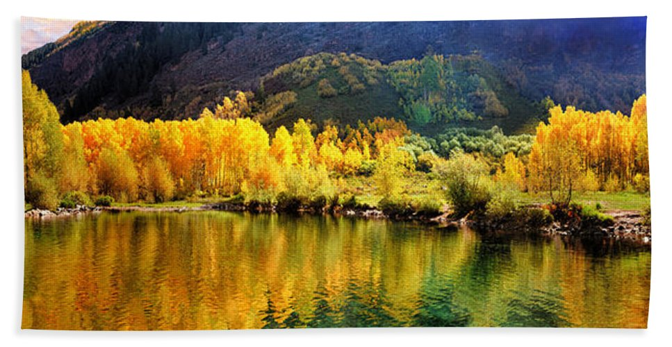Mountain Hand Towel featuring the photograph Lake Reflection In Fall by OLena Art Lena Owens
