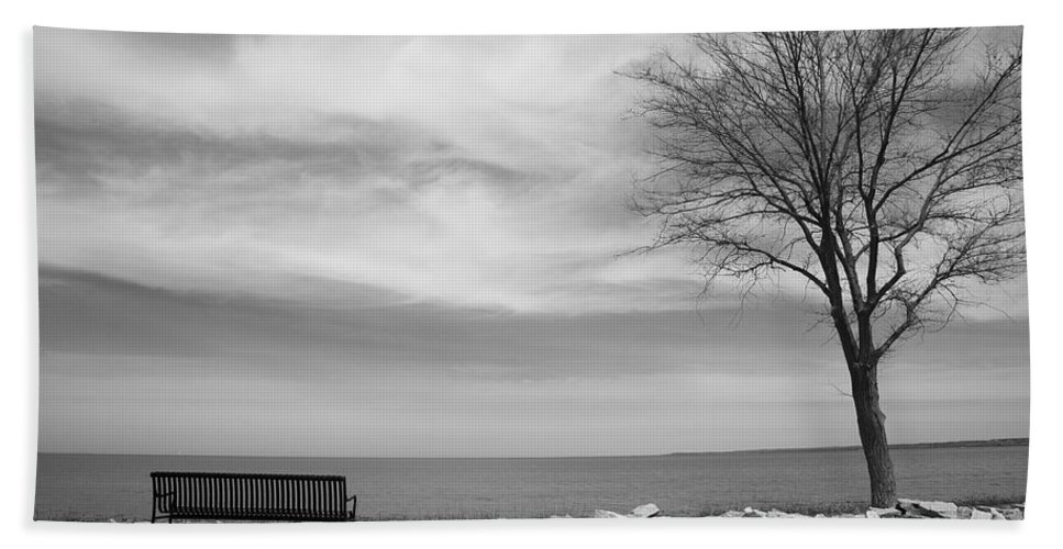 Art Hand Towel featuring the photograph Lake Tree And Park Bench by Frank Romeo
