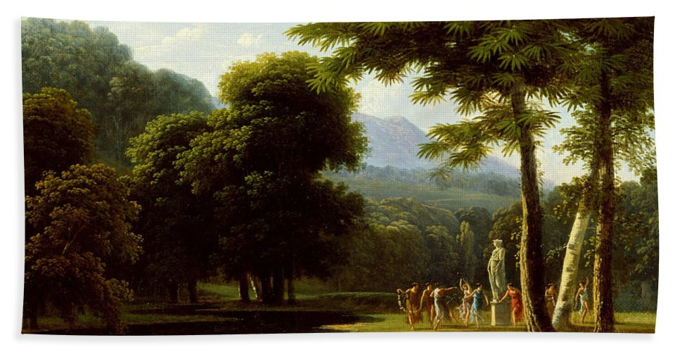 Jean-victor Bertin Bath Sheet featuring the painting Landscape by Jean-Victor Bertin