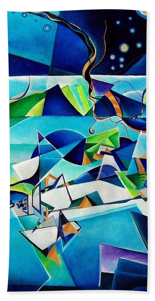 Landscpae Abstract Acrylic Wood Pens Bath Towel featuring the painting Landscape by Wolfgang Schweizer