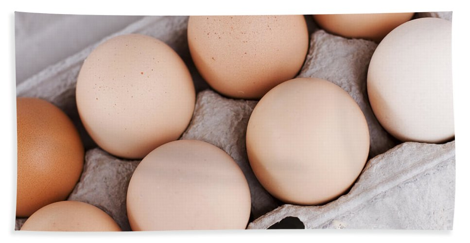 Box Bath Towel featuring the photograph Large Carton Eggs by Jorgo Photography - Wall Art Gallery