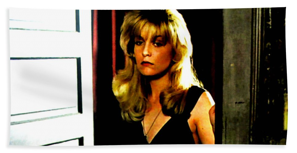 Laura Palmer Hand Towel featuring the painting Laura by Luis Ludzska