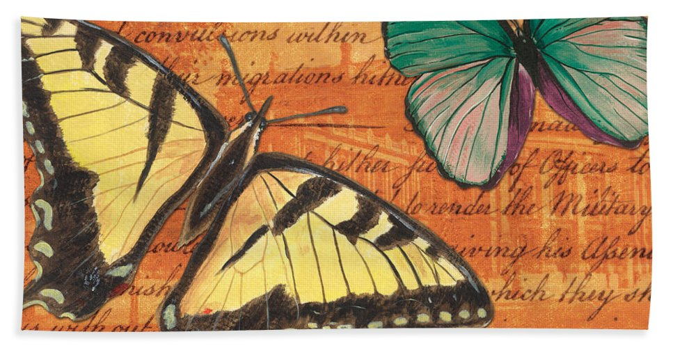 Butterfly Bath Sheet featuring the mixed media Le Papillon 3 by Debbie DeWitt