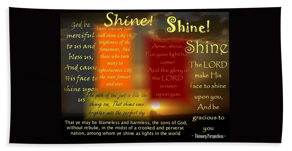 Shine Bath Sheet featuring the digital art Let Your Light Shine by Jewell McChesney