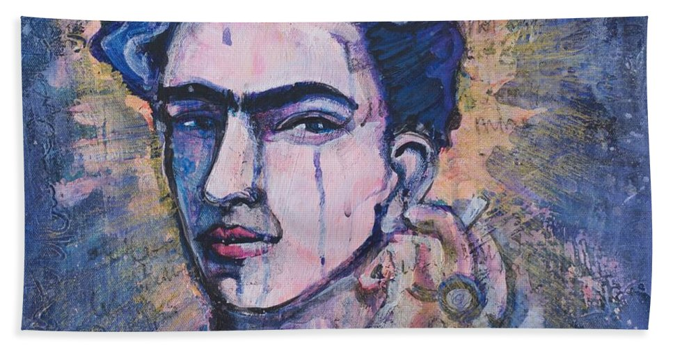 Frida Bath Sheet featuring the painting Letters To Diego by Laurie Maves ART