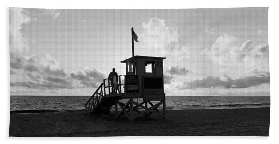 Photography Hand Towel featuring the photograph Lifeguard Hut On The Beach, 22nd St by Panoramic Images