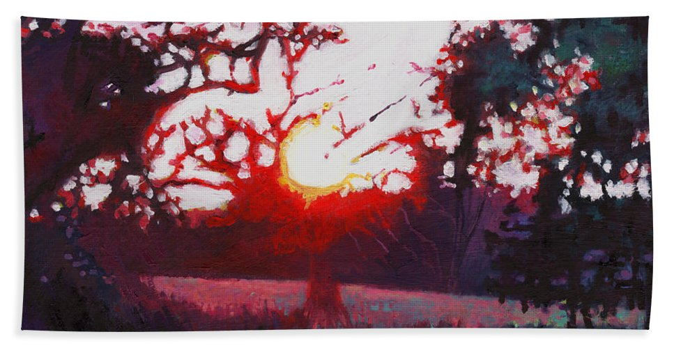 Woods Hand Towel featuring the painting Light Grounding by Helen White