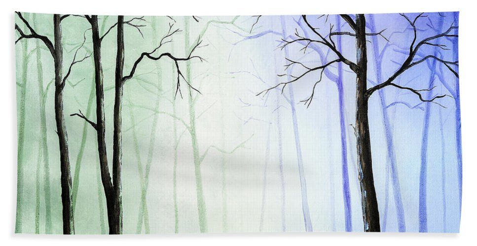 Acrylic Paintings Bath Sheet featuring the painting Light In The Forest by Timothy Hacker