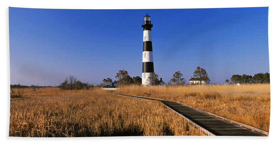 Photography Hand Towel featuring the photograph Lighthouse In A Field, Bodie Island by Panoramic Images