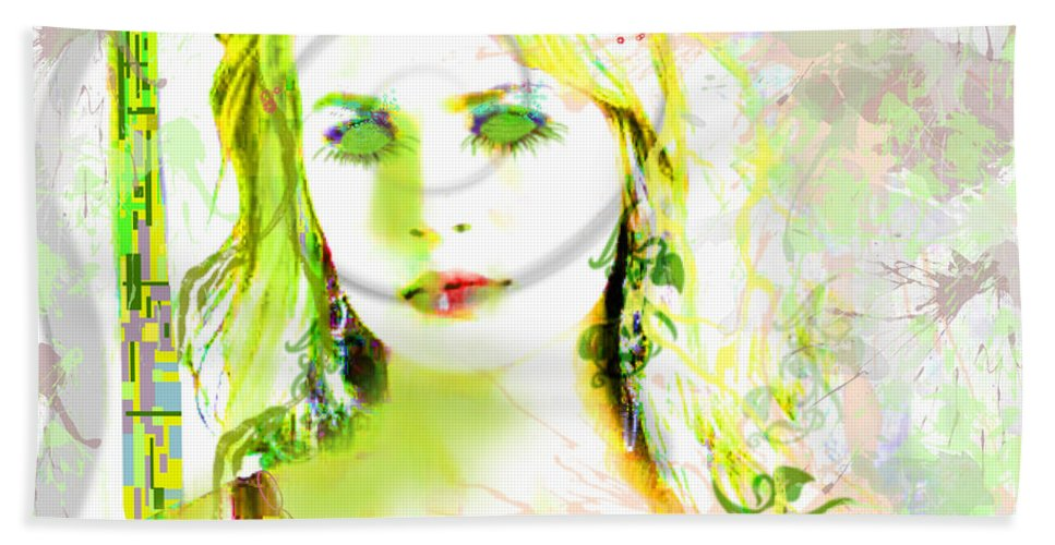 Portrait Hand Towel featuring the digital art Lily Lime by Kim Prowse