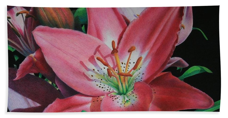 Lily Hand Towel featuring the painting Lily's Garden by Pamela Clements