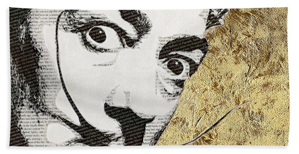 Salvador Dali Bath Sheet featuring the mixed media Literally Salvador Dali by Gary Hogben