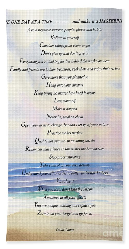 Live One Day At A Time Motivational Poster Hand Towel featuring the painting Live One Day At A Time by Barbara McMahon