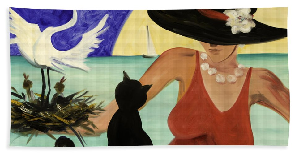 Colorful Art Bath Towel featuring the painting Living The Dream by Gina De Gorna