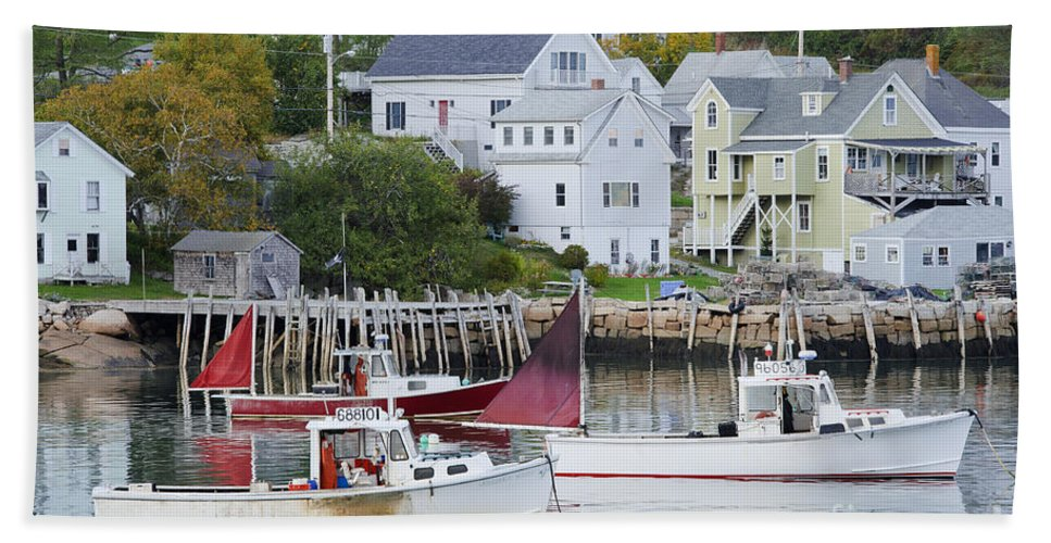 Boat Bath Sheet featuring the photograph Lobster Fishing Boats by John Shaw