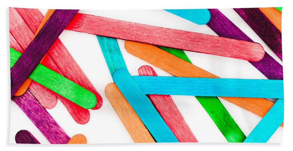 Abstract Bath Sheet featuring the photograph Lollipop Sticks by Tom Gowanlock