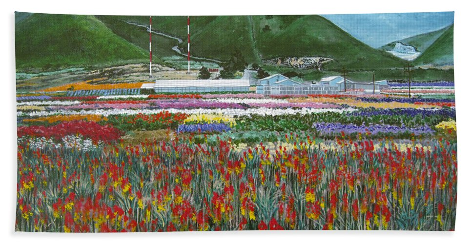 Flowers Hand Towel featuring the painting Lookout Point by Angie Hamlin