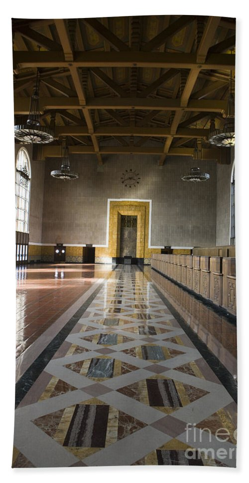 Travel Hand Towel featuring the photograph Los Angeles Union Station Interior by Jason O Watson