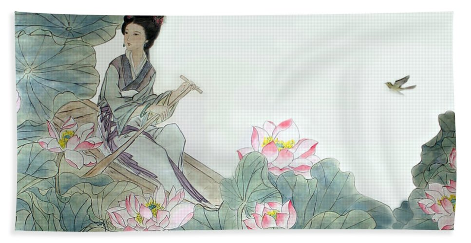 Lotus Flowers Bath Sheet featuring the photograph Lotus Pond by Yufeng Wang