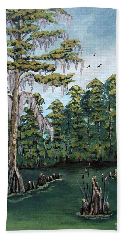Landscape Hand Towel featuring the painting Louisiana Cypress by Suzanne Theis