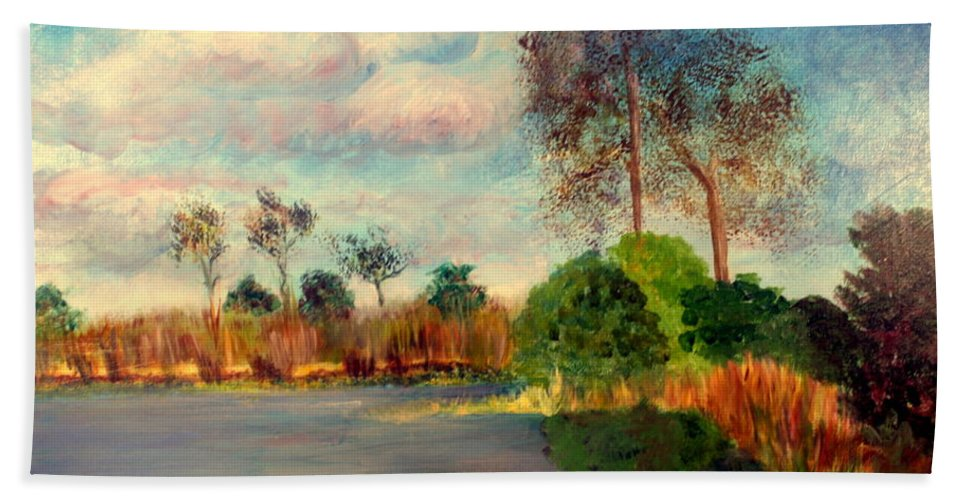 Beautiful Hand Towel featuring the painting Loxahatchee Nature Preserve by Donna Walsh