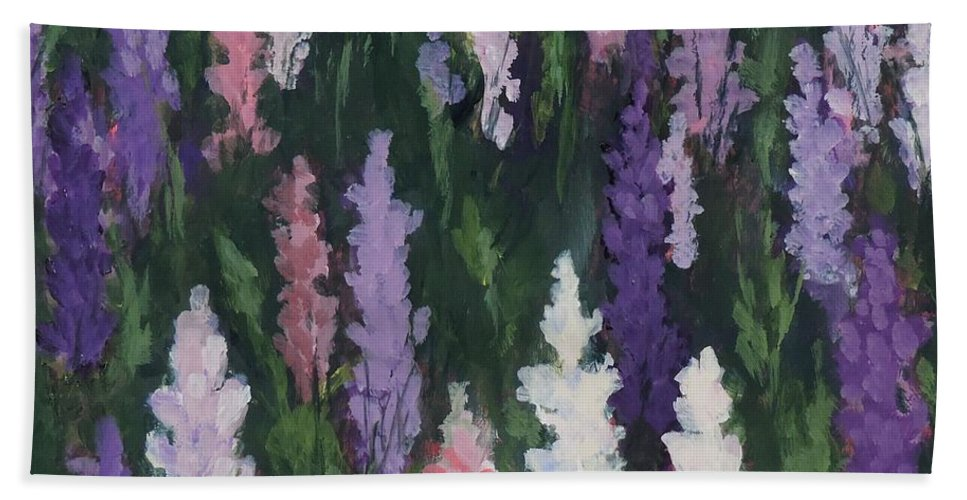 Art Hand Towel featuring the painting Lupines - Art By Bill Tomsa by Bill Tomsa