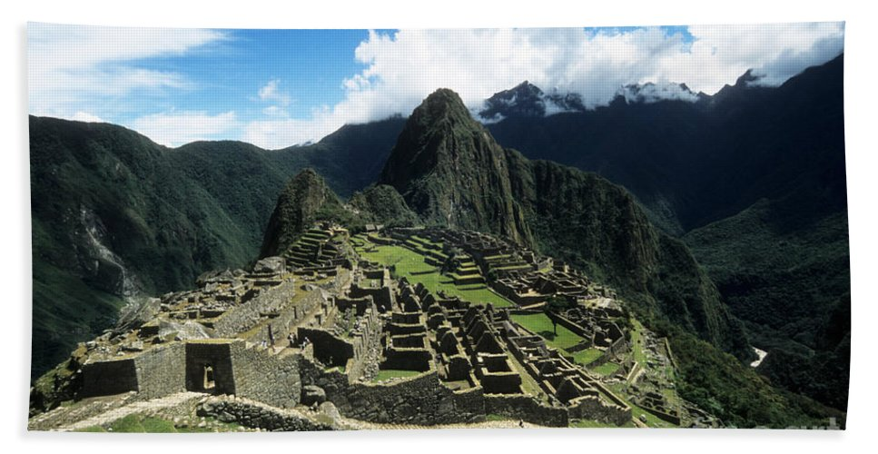 Peru Hand Towel featuring the photograph Machu Picchu Panorama by James Brunker