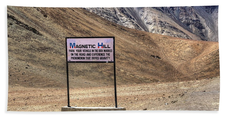 Famous Bath Sheet featuring the photograph Magnetic Hill Leh Ladakh Jammu And Kashmir India by Rudra Narayan Mitra