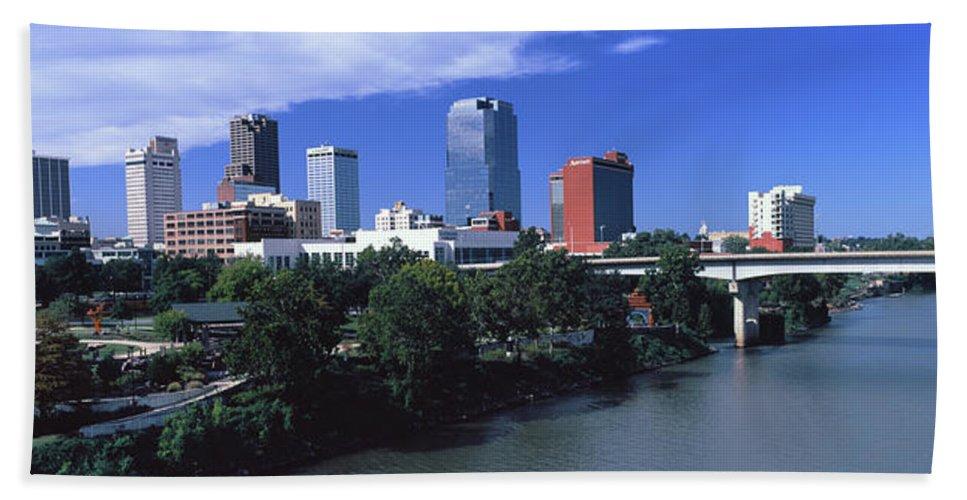 Photography Bath Sheet featuring the photograph Main Street Bridge Across Arkansas by Panoramic Images