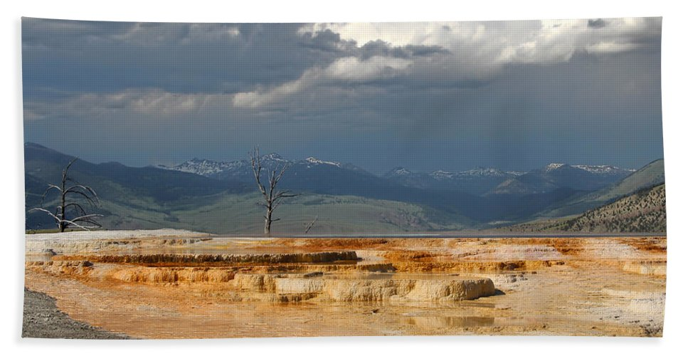 Mammoth Hot Springs Bath Sheet featuring the photograph Mammoth Hot Springs by Jemmy Archer