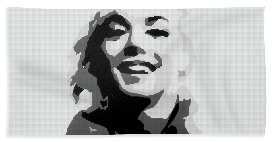 Marilyn Monroe Hand Towel featuring the painting Marilyn Monroe by Katharina Filus