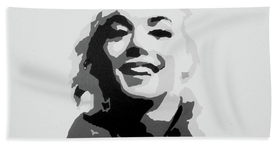 Marilyn Monroe Bath Towel featuring the painting Marilyn Monroe by Katharina Filus