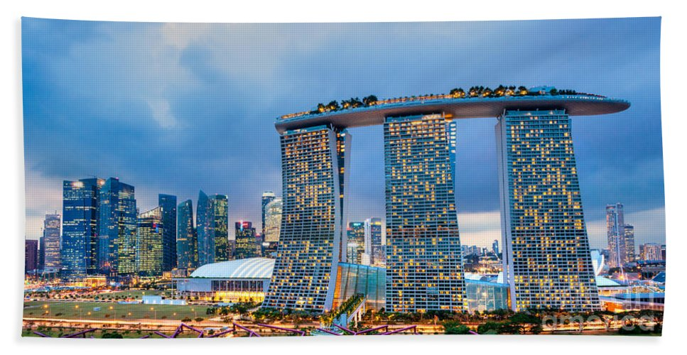 Night Bath Sheet featuring the photograph Marina Bay Sands - Singapore by Luciano Mortula