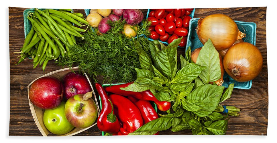 Local Bath Towel featuring the photograph Market Fruits And Vegetables by Elena Elisseeva