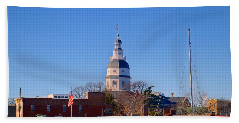 Annapolis Bath Sheet featuring the photograph Maryland State House Dome by Mark Dodd