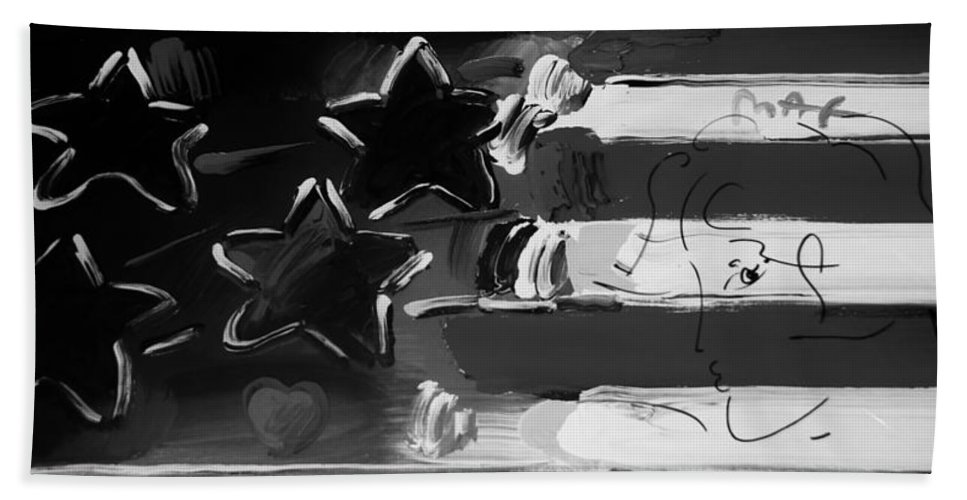 Modern Bath Sheet featuring the photograph Max Americana In Black And White by Rob Hans