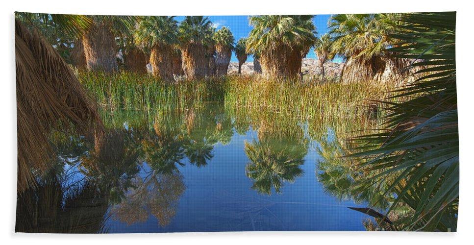 Mccallum Pond Hand Towel featuring the photograph Mccallum Pond - Coachella Valley by Yefim Bam