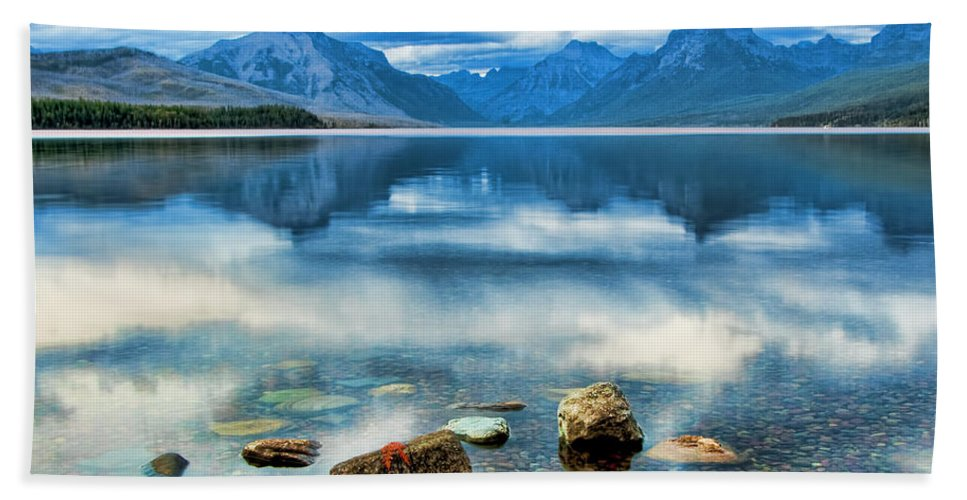 Mcdonald Lake Hand Towel featuring the photograph Mcdonald Lake by Gary Beeler