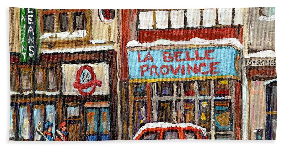 Montreal Bath Sheet featuring the painting Mcleans Irish Pub Montreal by Carole Spandau