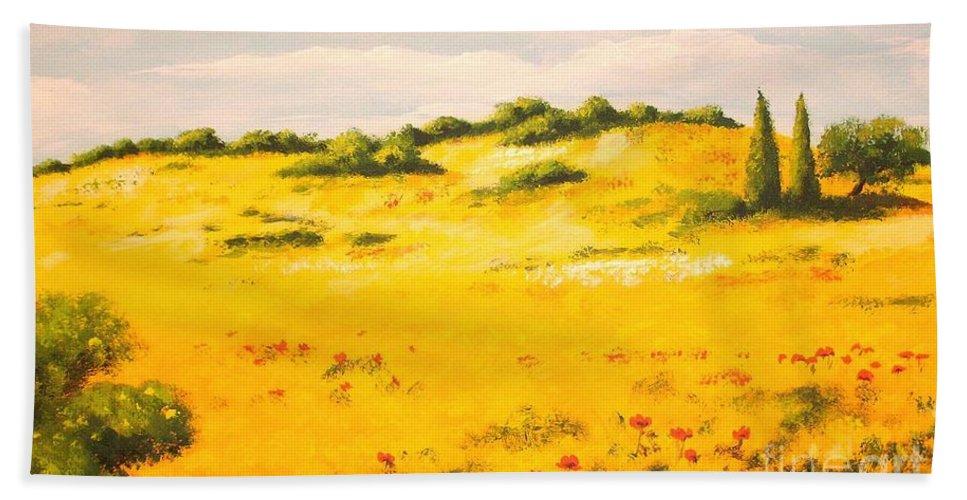 Landscape Hand Towel featuring the painting Mediterranean Landscape by Voros Edit