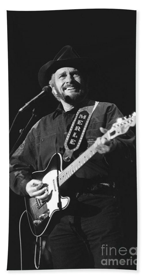 Country Music Hand Towel featuring the photograph Merle Haggard by Concert Photos