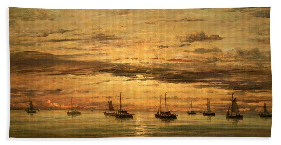 Sunset At Scheveningen Bath Sheet featuring the photograph Mesdag's Sunset At Scheveningen -- A Fleet Of Shipping Vessels At Anchor by Cora Wandel